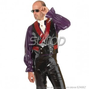 Suitop new item men's rubber latex double breasted waistcoat with red collar main in black color