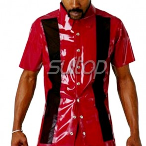 Man's pure handmade 100% rubber latex short shirt with front buttons in red color