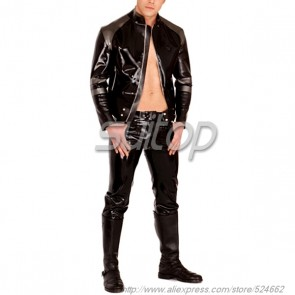 Suitop high quality men's rubber latex coat with front zip main in black color