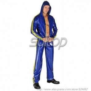 Suitop new item men's rubber latex sport coat with cap main in blue color