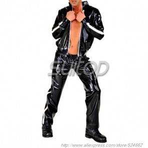 Suitop men's rubber latex blazer with front zip main in black color