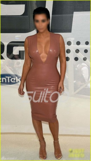 Same style Kim Kardashian sexy rubber latex sleeveless tight dress in dusty pink color for women