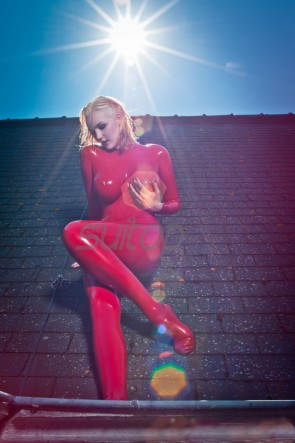 Women red latex catsuit