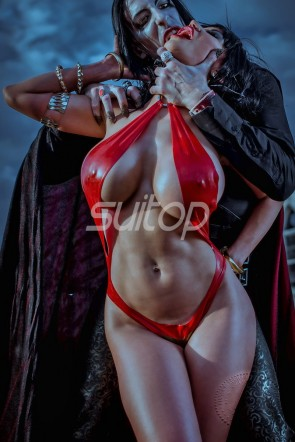 Latex jumpsuit vampirella vs dracula OUTFIT Fetish catsuit Hallowmas ruuber leotard