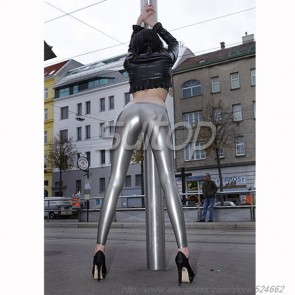 Latex trousers rubber leggings for women in metallic grey color