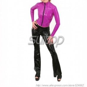 Suitop women's rubber latex long sleeve tight t-shirt with front zip in purple color