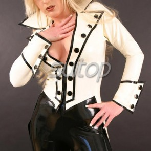 Suitop special women's rubber latex open bust tight jacket with front zip in cream with black trim color