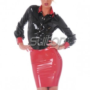 women's latex shirt  rubber tops female's blouse in black color