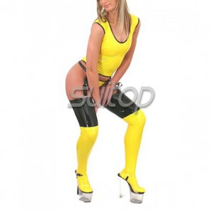 Suitop women's rubber latex whole set including tight vest,t-back and long stockings in yellow with black trim color