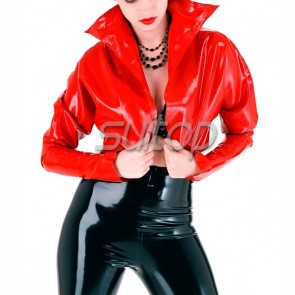 Suitop casual women's rubber latex short  jacket with high neck in red color