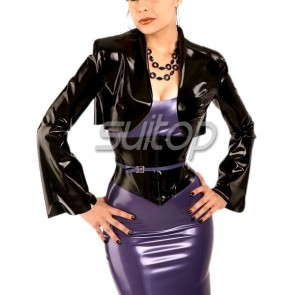 Suitop fashional women's rubber latex long mandarin sleeve jacket with back lace up in black color