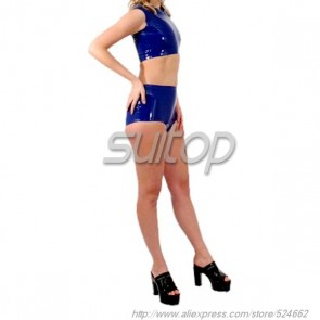 Suitop women's rubber latex whole set including tight vest and shorts in blue color