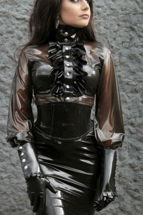 Suitop fashional women's rubber latex long sleeve high neck blouses in transparent black color