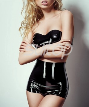 Suitop women's female's sexy rubber latex tops and high-waisted shorts in black color