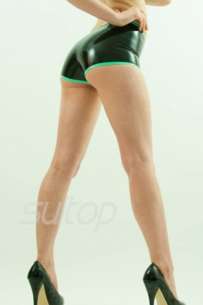 Suitop sexy rubber latex women's female's shorts main in black and green trim color