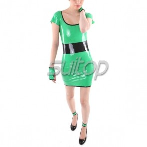 Sexry casual rubber latex tight dress includes gloves in green color for lady