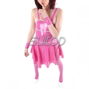 Sexry & lovely rubber latex shoulder strap dress in pink color for lady