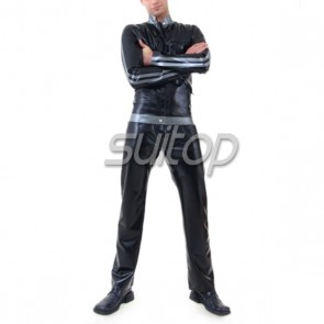 Suitop latex rubber suit black rubber garment with pants