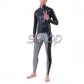 Suitop hot selling men's rubber latex whole set including black tops and gray legging