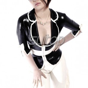 Suitop fashional women's female's rubber latex tight coat tops with front zip main in black and white trim color