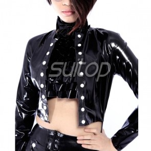 Suitop casual women's female's rubber latex long sleeve top jacket in black color