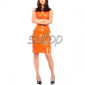 Sexy party rubber latex halter tassel dress in orange color for lady