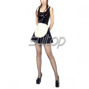 Suitop hot selling women's rubber latex sleeveless maid uniform dress with apron for cosplay