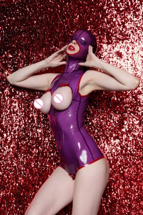 Sexy natural rubber latex leotard with head in transparent purple color for women