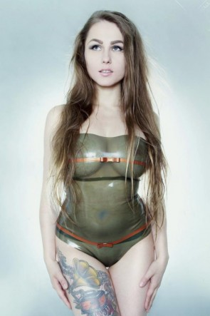 Simple & sexy rubber latex leotard with bowknot in transparent army green color for women