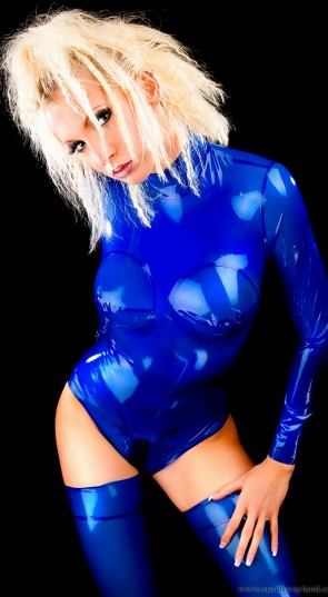 Shiny rubber latex body & leotard includes long stockings in transparent blue color for women