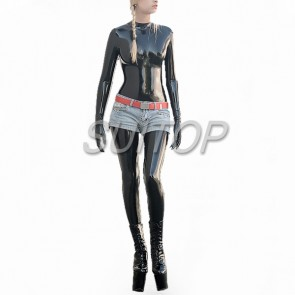 High quality 0.3mm thickness heavy rubber latex catsuit attached feet and gloves in black color for women