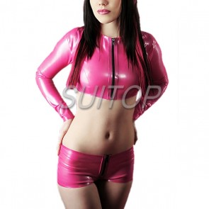 Suitop super quality women's female's rubber latex whole set including tops with front zipper and shorts in pink color
