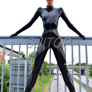 High quality 0.3mm heavy thickness rubber latex classical catsuit in black color for women