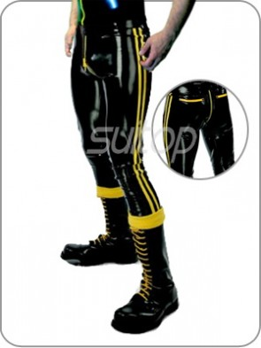 Suitop men's casual rubber pants latex trousers with crotch zipper in black color