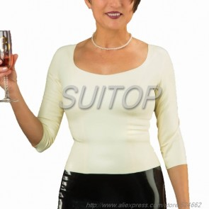 Suitop casual women's rubber latex long sleeve t-shirt with round neck in white color