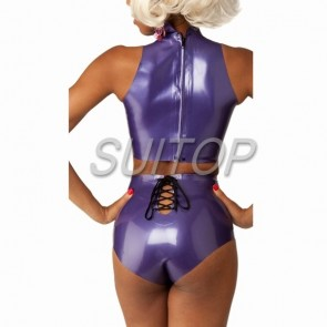 Suitop popular rubber latex tight vest with back zip and shorts attached back lacing in metallic purple color for female
