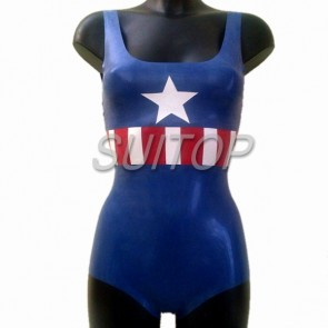 Suitop new arrival women's rubber latex hollywood uniform leotard in blue color
