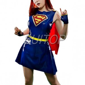 Suitop new arrival women's rubber latex hollywood superwomen uniform dress main in blue color