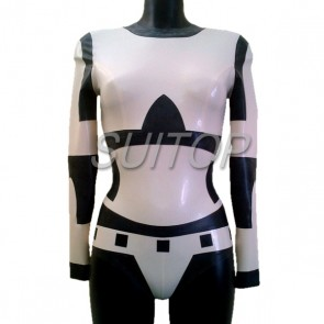 New arrival rubber latex catsuit with back zip to crotch main in white color for women