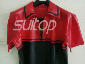 Suitop high quality men's rubber latex short sleeve t-shirt with front zip in transparent red and black trim color