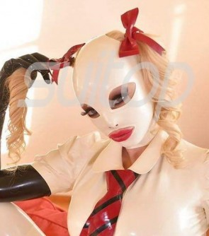 White full head rubber latex hood masks(open mouth,nose and eyes) with bowknots for womens