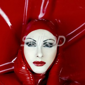 Suitop rubber latex hood masks in red color for adults
