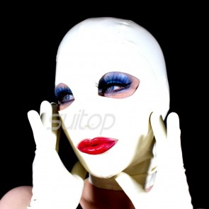 Sexy full head rubber latex hood masks with open eyes and mouth in white color for adults
