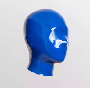 Latex fetish masks with net hole on eyes and nose for adult in blue