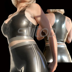 Suitop casual women's rubber latex vest and pants main in black with gray trim color