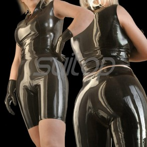 Suitop casual women's rubber latex tight vest and pants in black color