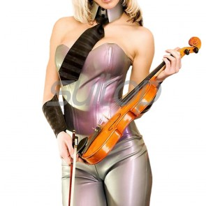 Suitop fashional women's rubber latex whole set including tight top,collar and pants in metallic light purple color