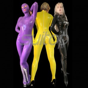 Suitop shiny rubber latex full cover catsuit with seperated gloves in purple color
