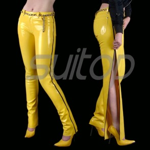 Suitop super quality women's rubber pants latex trousers and side with black zip in yellow color