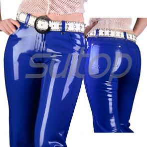 Suitop casual women's rubber pants latex trousers without belt in blue color
